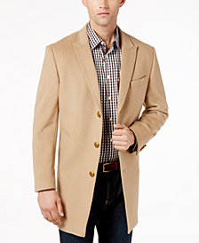 Tallia Men's Slim-Fit Camel Peak-Lapel Overcoat