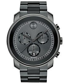 Men's Swiss Chronograph BOLD Gray Stainless Steel Bracelet Watch 48mm