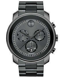 Movado Men's Swiss Chronograph BOLD Gray Stainless Steel Bracelet Watch 48mm