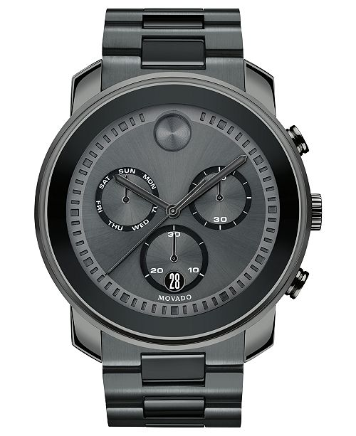 Movado Men's Swiss Chronograph BOLD Gray Stainless Steel Bracelet Watch 48mm