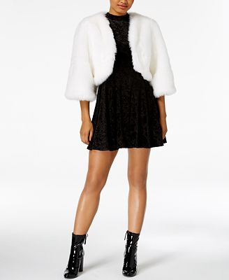 The Edit by Seventeen Juniors' Faux-Fur Cape & Velvet Mini Dress, Created for Macy's