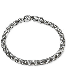 Esquire Men's Jewelry Wheat Chain Bracelet in Sterling Silver, Created for Macy's