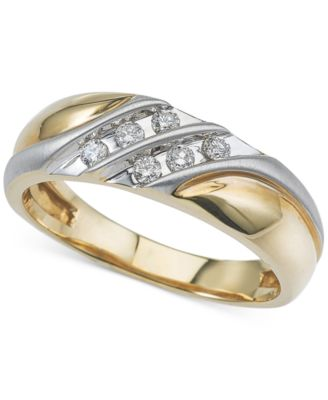 Mens Diamond TwoTone Wedding Band 14 ct tw in 10k Gold