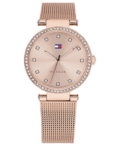 Tommy Hilfiger Women's Rose Gold-Tone Stainless Steel Mesh Bracelet Watch 32mm