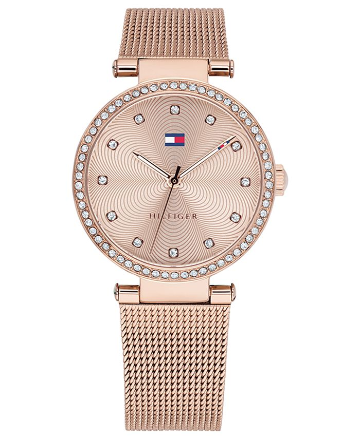 Tommy Hilfiger - Women's Rose Gold-Tone Stainless Steel Mesh Bracelet Watch 32mm