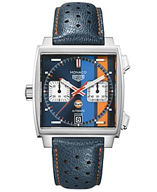 LIMITED EDITION Men's Swiss Automatic Monaco Gulf Blue Leather Strap Watch 39x39mm - Special Edition