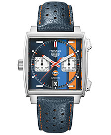 TAG Heuer Men's Swiss Automatic Monaco Gulf Blue Leather Strap Watch 39x39mm - Special Edition