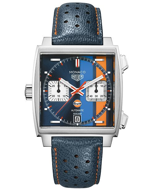 TAG Heuer LIMITED EDITION Men's Swiss Automatic Monaco Gulf Blue Leather Strap Watch 39x39mm - Special Edition