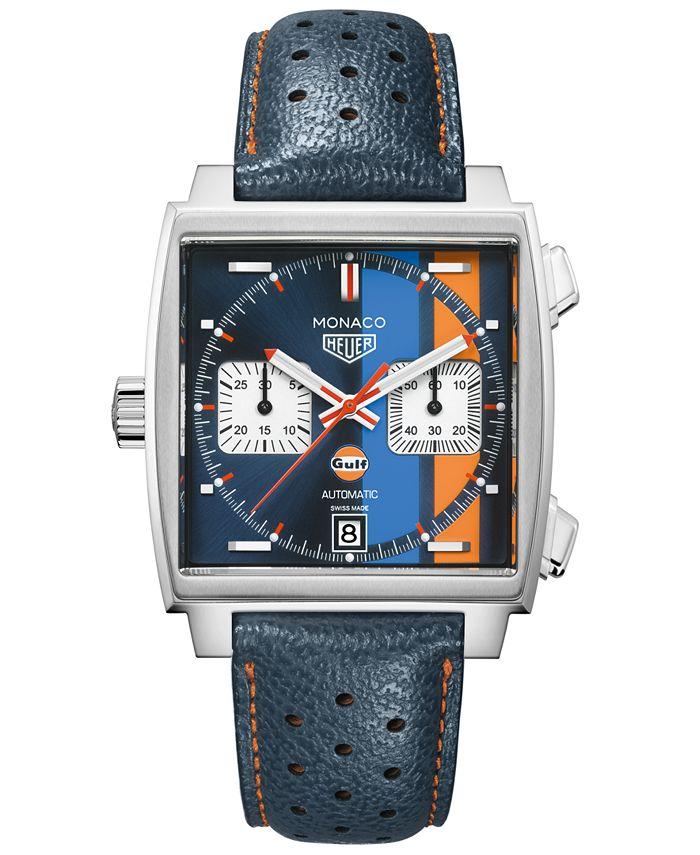 TAG Heuer - Men's Swiss Automatic Chronograph Monaco Gulf Blue Leather Strap Watch 39x39mm