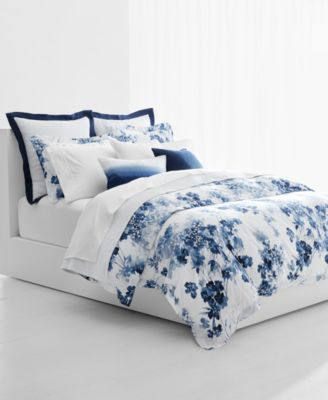Flora Blue 3-Pc. Cotton Full/Queen Duvet Cover Set