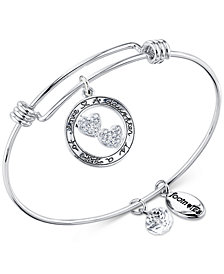 "Unwritten ""A Daughter is a Gift of Love"" Crystal Hearts Adjustable Bangle Bracelet in Stainless Steel & Silver Plate"