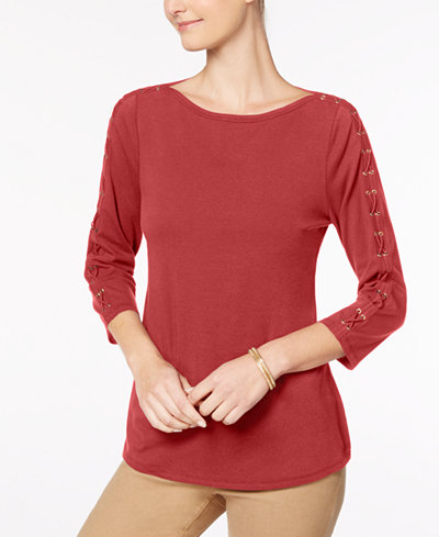 Charter Club Petite Laced-Sleeve Top, Created for Macy's
