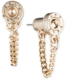 DKNY Logo Rivet Chain Front & Back Earrings, Created for Macy's