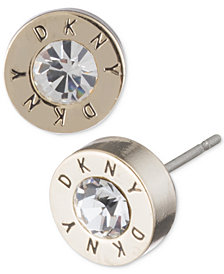 Dkny Logo Extra Small Crystal Ring Stud Earrings Created For Macy S