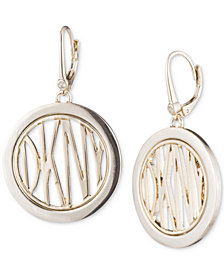 DKNY Gold-Tone Logo Circle Drop Earrings, Created for Macy's