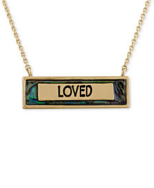 "RACHEL Rachel Roy Gold-Tone Blue Stone ""Loved"" Pendant Necklace"