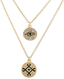 RACHEL Rachel Roy Gold-Tone Pavé Double-Row Pendant Necklace