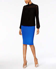 Thalia Sodi Illusion Mock-Neck Top & Pencil Skirt, Created for Macy's