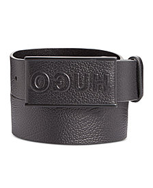 Hugo Boss Men's Logo Leather Plaque Belt