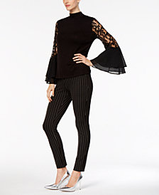 Joseph A Mock-Neck Bell-Sleeve Top & ECI Pull-On Straight-Leg Pants