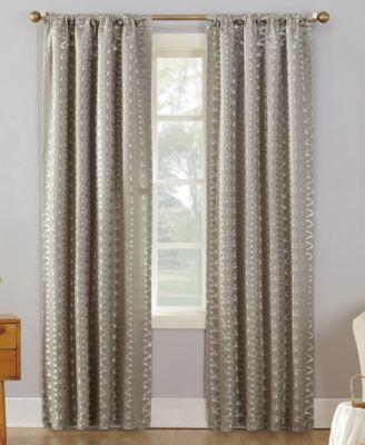 "Atticus Metallic Geometric Jacquard 52"" x 63"" Blackout Lined Rod-Pocket Curtain Panel"