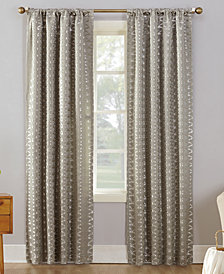 "Sun Zero Atticus Metallic Geometric Jacquard 52"" x 63"" Blackout Lined Rod-Pocket Curtain Panel"