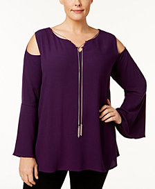 Love Scarlett Plus Size Chain-Neck Cold-Shoulder Top