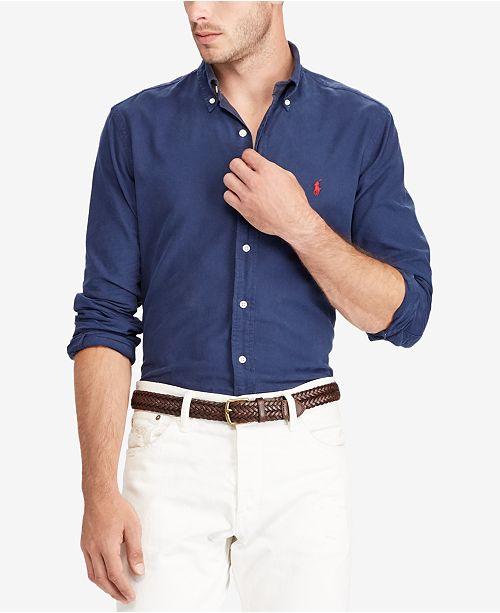 c656321185a6c Polo Ralph Lauren Men s Slim-Fit Oxford Shirt   Reviews - Casual ...