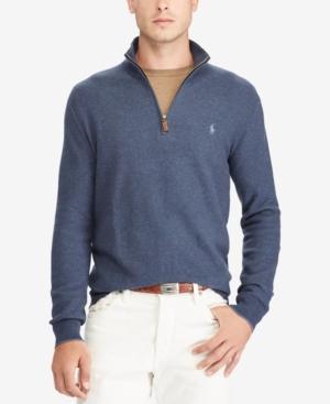 Cotton Polo Embroidered Winter Logo Ralph Lauren Pima Sweater Half Zip In Navy 4g04wx