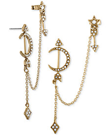 RACHEL Rachel Roy Gold-Tone Pavé Moon & Star Chain Cuff Earrings