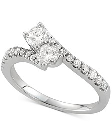 Diamond Two-Stone Twist Ring (7/8 ct. t.w.) in 14k White Gold