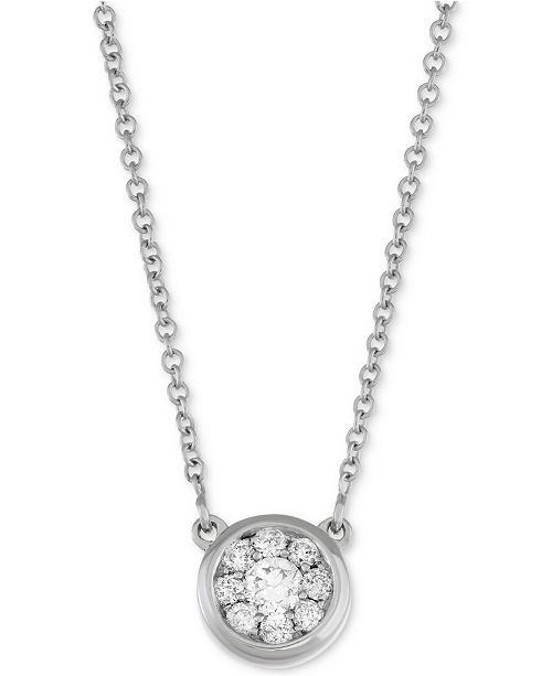 Macy's Diamond Cluster Pendant Necklace (1/4 ct. t.w.) in 14k White Gold