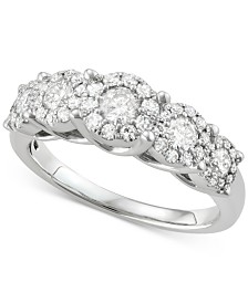 Diamond Five Cluster Ring (1 ct. t.w.) in 14k White Gold