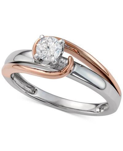 diamond two tone engagement ring 13 ct tw in 14k macys - Macys Wedding Rings
