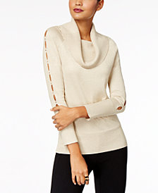 Thalia Sodi Embellished Cowl-Neck Sweater, Created for Macy's