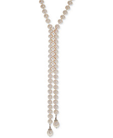 Cultured Freshwater Pearl (8mm) & White Topaz (1-5/8 ct. t.w.) Lariat Necklace