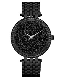 Caravelle Designed by Bulova  Women's Black Stainless Steel Bracelet Watch 38mm