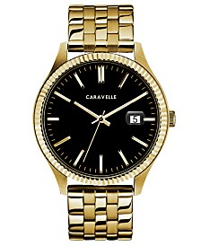 Caravelle Designed by Bulova  Men's Gold-Tone Stainless Steel Bracelet Watch 41mm