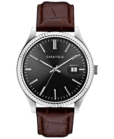 Caravelle Men's Brown Leather Strap Watch 41mm