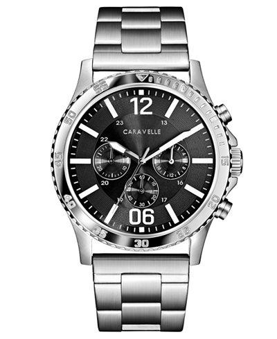 Caravelle Men's Chronograph Stainless Steel Bracelet Watch 44mm