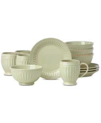 French Perle Groove Pistachio 12-Pc. Dessert Set Service For 4, Created for Macy's