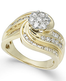 Diamond Swirl Cluster Ring (1-1/4 ct. t.w.) in 14k Gold