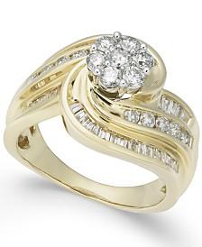 Diamond Swirl Cluster Ring (1-1/4 ct. t.w.) in 14k Gold
