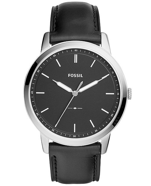 805fd40bff4e Fossil Men s The Minimalist Black Leather Strap Watch 44mm   Reviews ...