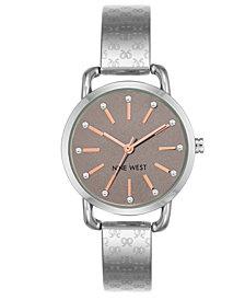 Nine West Women's Silver-Tone Bangle Bracelet Watch32mm