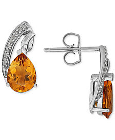 Citrine (1-9/10 ct. t.w.) & Diamond Accent Teardrop Swirl Drop Earrings in Sterling Silver