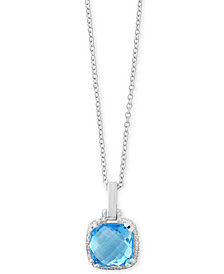 Final Call by EFFY® Blue Topaz (3 ct. t.w.) & Diamond Accent Pendant Necklace in 14k White Gold
