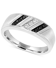 Men's Diamond Diagonal Ring (1/4 ct. t.w.) in Sterling Silver