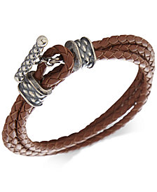 DEGS & SAL Men's Leather Toggle Double Wrap Bracelet in Sterling Silver