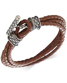 DEGS & SAL Men's Leather Toggle Double Wrap Bracelet in Sterling Silver